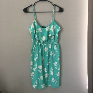 Soprano Green White Floral Mini Dress Small